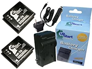 2x Pack - Panasonic Lumix DMC-FX150 Battery + Charger with Car & EU Adapters - Replacement for Panasonic CGA-S005 Digital Camera Battery and Charger (2150mAh, 3.7V, Lithium-Ion)