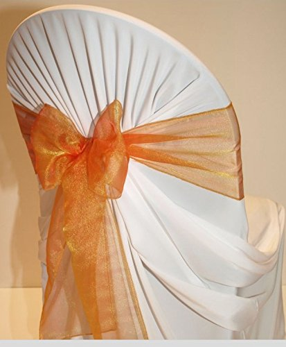 Mds Pack of 50 Organza chair sashes bow Sash for wedding and Events Supplies Party Decoration chair cover sash -brunt orange