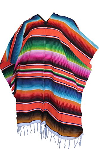 Orange Striped Mexican Serape Poncho Pancho Adult Costume