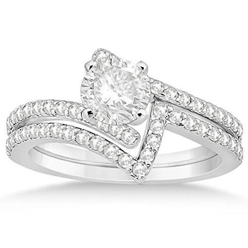 Twisted Diamond Engagement Ring And Contour Wedding Band Bridal Set 14K White Gold 0.52Ct