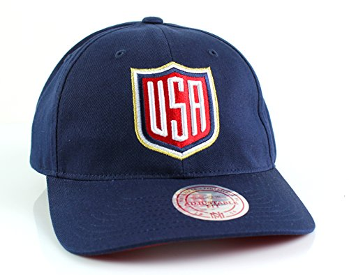 Mitchell & Ness World Cup of Hockey 2016 Team Logo Slouch Adjustable Backstrap Hat (Team USA-Navy)