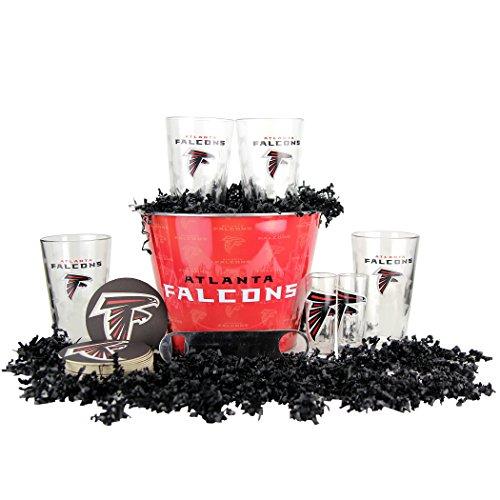 NFL Team Gift Bucket Set (Pint Glasses, Bucket, Shot Glasses, & Bottle Opener) (Atlanta Falcons)