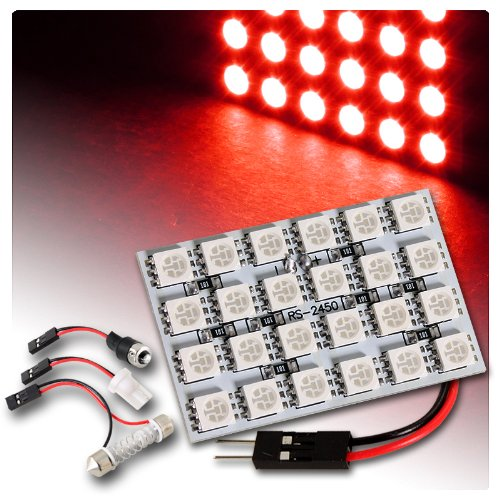 47Mm X 30Mm Smd Led Panel Interior Dome / Map Light W/ Adapter - Red