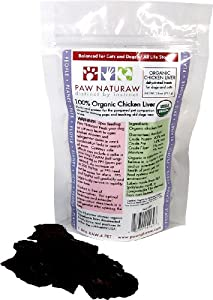 Paw Naturaw Organic Chicken Liver Treats for Dogs and Cats, 2.6-Ounce Pouches (Pack of 4)