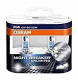 OSRAM NIGHT BREAKER UNLIMITED H4, Halogen-Scheinwerferlampe, 64193NBU-HCB, 12V PKW, Duobox (2 St�ck)