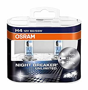 OSRAM NIGHT BREAKER® UNLIMITED H4, Frontscheinwerfer, 64193NBU-HCB, 12V, Duobox