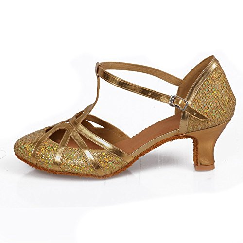 Roymall Women's Gold,Fashion Ballroom Party Glitter Latin Dance Shoes Model 511-5,7.5 B(M) US