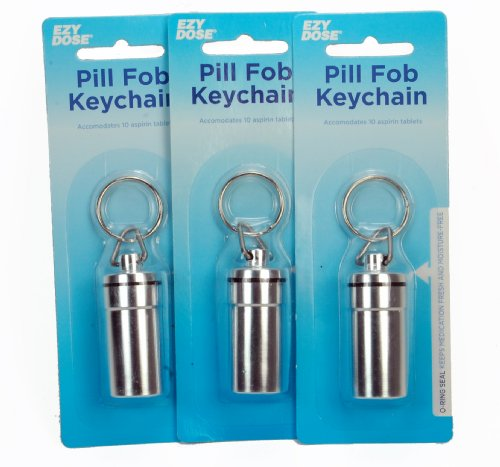 3pc -Waterproof Airtight Pill Fob Holder Keychain - Color Silver By Ezy Dose
