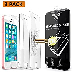 iPhone SE Screen Protector, CellBee 3 PACK[Shielding Gladiator] Premium High Definition Shockproof Clear Tempered Glass Screen Protector 0.3mm Thickness 2.5D Curved Edge for iPhone SE/5S