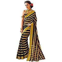 Lemoda Designer Yellow & Black Lace Border Work Cotton Saree MMUKE33876577920-70000046
