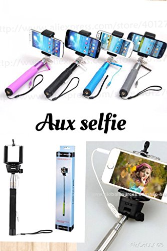 selfie stick with aux wire and built in clicker available at amazon for. Black Bedroom Furniture Sets. Home Design Ideas