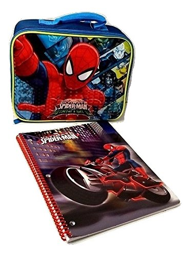 Spiderman New Marvel Ultimate Spider-man Insulated Lunch Bag Spiral Elementary Junior High Backpack Middle Notebook