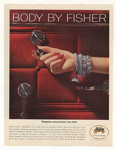 1965 GM Body by Fisher Door Hardware Lady Jewelry Print Ad