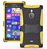 JKase DIABLO Tough Rugged Dual Layer Protection Case Cover with Build in Stand for Nokia Lumia 1520 (Yellow)