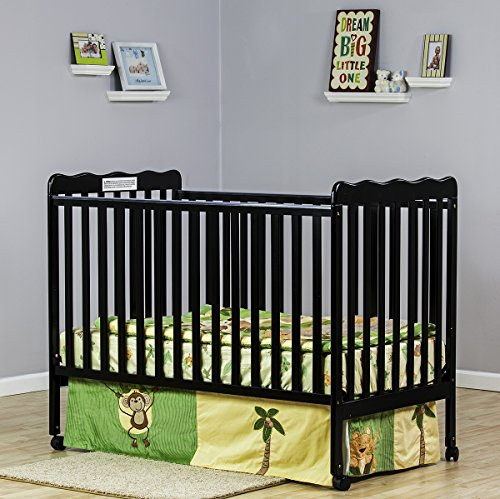 Review Dream On Me Classic 2 in 1 Convertible Stationary Side Crib, Black