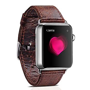 Apple Watch Leather Band, Icarercase Vintage Series Genuine Leather Watchband Strap Replacement iWatch Wristband Link Bracelet with Secure Metal Clasp Buckle for Apple Watch (Coffee for 38mm)