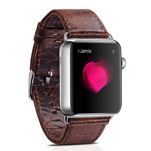 Apple Watch Leather Band, Icarercase Vintage Series Genuine Leather Watchband Strap Replacement iWatch Wristband Link Bracelet with Secure Metal Clasp Buckle for Apple Watch (Coffee for 38mm) 2