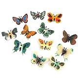 【ノーブランド品】人気動物のフィギュア 蝶セット アニマル プラスチック おもちゃ モデル 12個セット