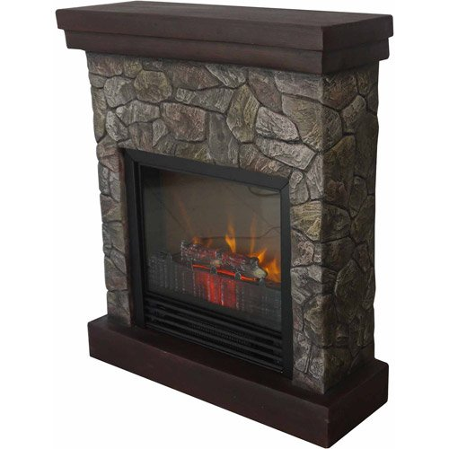 "Home Polyfiber Electric Fireplace, 26"", Realistic Flame, 1250W Heater, Tan"
