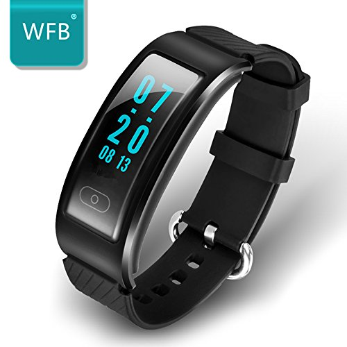 WFB Bluetooth Fitness Tracker Heart Rate Monitor Smartwatch For Samsung Android / iphone6s Plus IOS (Black)