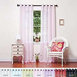 "Pink Crushed Voile Sheer Grommet Top Curtain 108""L Pair - SL"