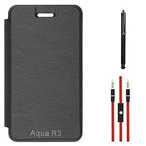 DMG PU Leather Flip Cover Case for Intex Aqua R3 (Black) + AUX Cable + Stylus