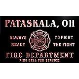 qy63495-r FIRE DEPT PATASKALA, OH OHIO Firefighter Neon Sign Barlicht Neonlicht Lichtwerbung