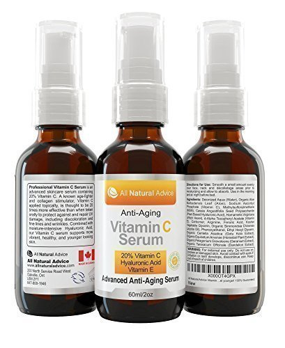 20% Vitamin C Serum DOUBLE the size at 2 oz or 60 ml MADE IN CANADA Certified Organic with Hyaluronic Acid + Vitamin E Moisturizer + Collagen Boost, Reverse Skin Aging, Removes Sun Spots Wrinkles and Dark Circles, Excellent for Sensitive Skin - Both PUMP & DROPPER Included - 100% Guaranteed! - 1