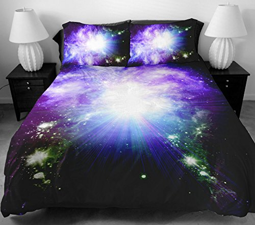 Anlye Home Decor Ideas Luxury Bedding Set 2 Sides Printing Design Purple Fancy Sky Duvet Covers With 2 Purple Pillow Case Full front-779191