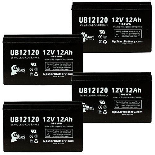 4X Pack - Mongoose Dirt Grinder Battery - Replacement Ub12120 Universal Sealed Lead Acid Battery (12V, 12Ah, 12000Mah, F1 Terminal, Agm, Sla) - Includes 8 F1 To F2 Terminal Adapters