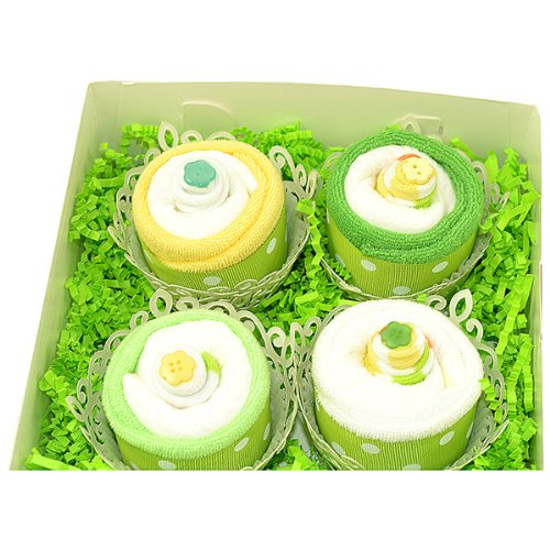Nyc Baby Sweets 19Pc Deluxe Box Of Baby Onesie Washcloth Clothing Cupcakes Set Neutral Yellow/Green