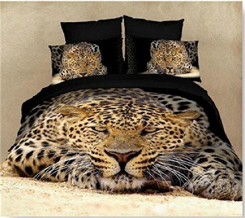 Joybuy Tiger Bedding Sets,Animal Print Comforter Set,3D Oil Painting Duvet Cover Set,4Pcs,Queen