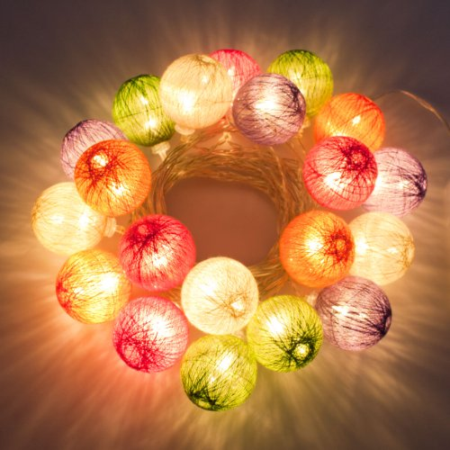 catena a batteria, Cotton Ball Multicolor, 4,75 m, 20 led bianco caldo, luci colorate per la casa, decorazioni luminose, luci di Natale a batteria