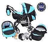 Baby-Sportive-X2-3-in-1-Kombikinderwagen-set-incl-Kinderwagen-mit-Zubehr-Babyschale-und-Sportwagen-Aufsatz-System-mit-Schwenkrder-Reisesystem-Farbe-Schwarz-und-Trkis