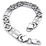 KONOV Jewelry Mens Stainless Steel Bracelet, Cross Links, Silver