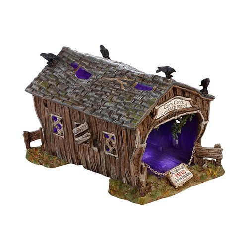 Department 56 Halloween Seasonal Decor Accessories for Village Collections, Crow Creek Covered Bridge, 4.72-Inch