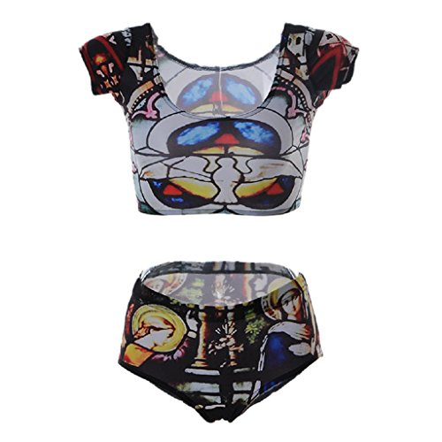 Dove of Piece Stained Glass Crop Top Boy Shorts Set