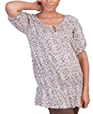 Haven Women's Ruched Scoop Neck Top-Brown/Silver Animal Print-Xl