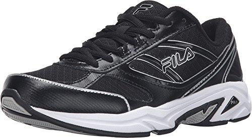 Fila Women's Physique Black/Black/Metallic Silver Sneaker 9 B (M)