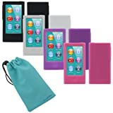 "Evecase® Soft Silicone Skin Case Covers - Black + White + Purple + Hot Pink for Apple iPod Nano 7 7G 7th Generation - 2012 NEWEST MODEL + ""Blue Microfiber Sleeve Pouch Case"""