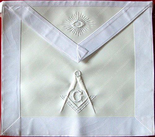 Masonic Master Mason Apron All White Hand Embroidered (York Rite Apron compare prices)