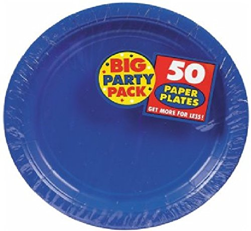 Amscan Big Party Pack 50 Count Plastic Dessert Plates, 7-Inch, Bright Royal Blue