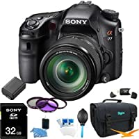 Sony Alpha A77 SLT-A77VM A77VM SLTA77 SLTA77VM 24.3 MP Translucent Mirror Digital SLR With 18-135mm lens ULTIMATE BUNDLE with High Speed 32GB Card, 3 pc Deluxe Filter Kit, High Capacity Spare Battery, Padded Case+ More! from Sony