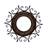 New Year Sale Crafts'man Wood And Wrought Iron Circular Mirror-CUM-Frame Sun Shape Wall Hanging