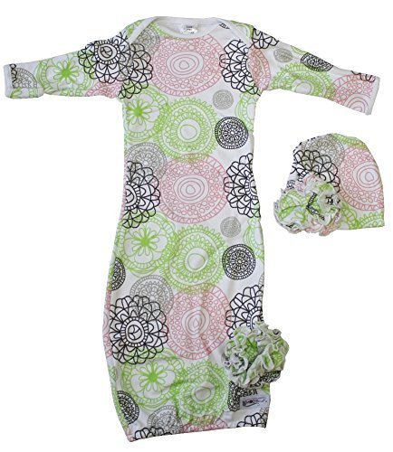 Woombie Indian Cotton Gowns Plus Hat, Lola Flowers, 7-15 Lbs - 1