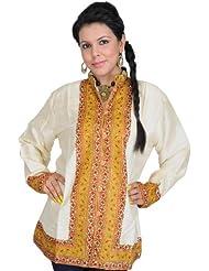 Exotic India Kashmiri Jacket With Hand Ari Embroidery On Border