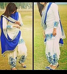 UTTAM VASTRA white and blue cottonsemi-stitch embroidered designer dress