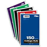 TOPS 3-Subject Wirebound Notebook, College Rule, 6 x 9.5 Inches, White, 150 Sheets per Book, Color Cover May Vary (65362)