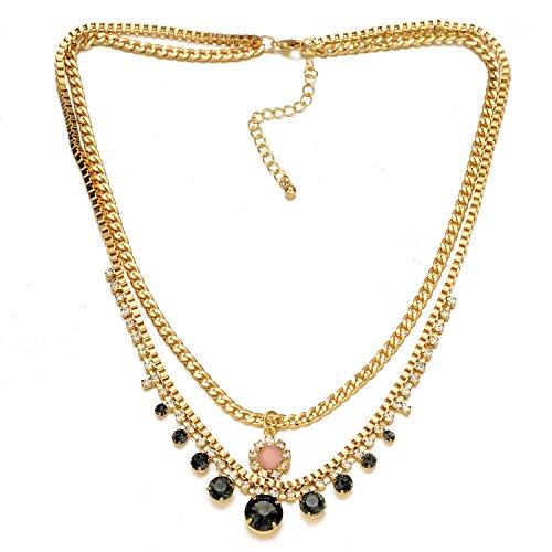 Omea Bohemian da donna Vogue diamanti cristallo oro ciondolo catena lunga collana