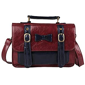 Ecosusi Vintage Leather Messenger Bag Women Crossbody Satchel Bag Briefcase (Dark Red)